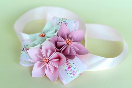 Brățară 3 flori hârtie - Diverse culori0