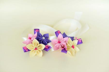 Brățară 3 flori hârtie - Diverse culori3