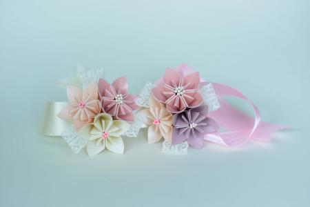 Brățară 3 flori hârtie - Diverse culori7