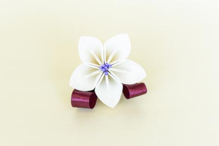 Cocardă nuntă 1 floare hârtie - Diverse culori0