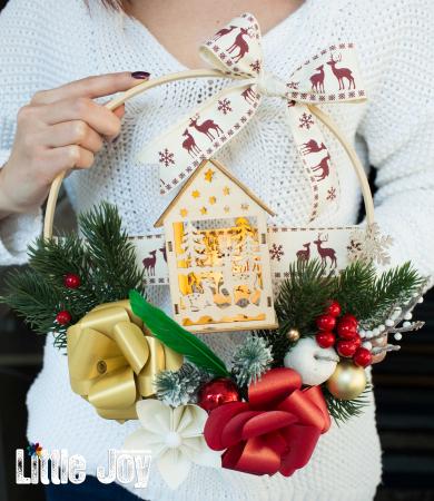 Coroniță Crăciun - Roșu Căsuță luminoasă0