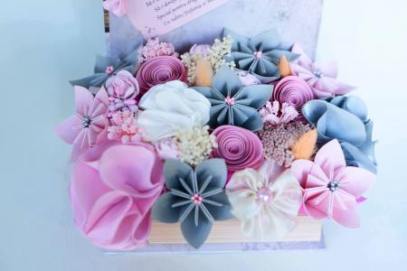 Cutie carte - Flori hârtie/ Flori textile [1]