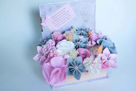 Cutie carte - Flori hârtie/ Flori textile [0]