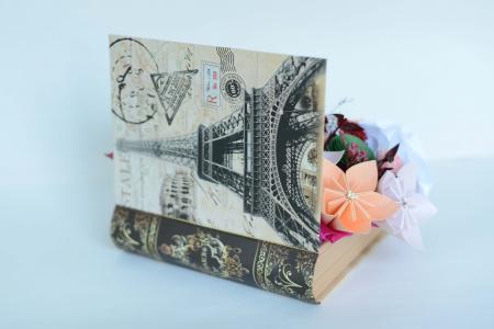 Cutie carte - Flori hârtie/ Flori textile2