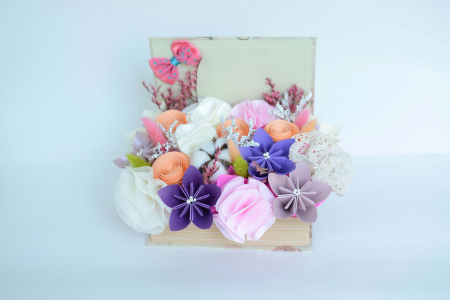 Cutie carte - Flori hârtie/ Flori textile1