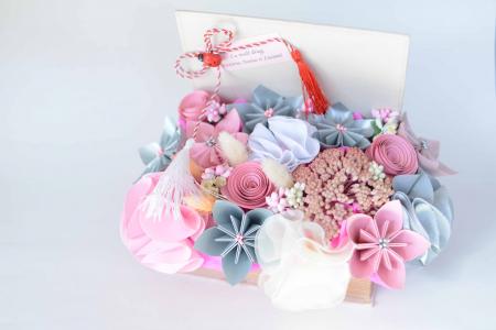 Cutie carte - Flori hârtie/ Flori textile0