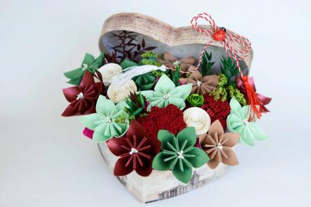 Cutie Inimă - Flori hârtie0