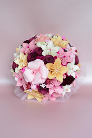 Decor masă - Semisferă flori hârtie12