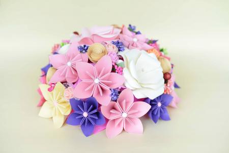 Decor masă - Semisferă flori hârtie5