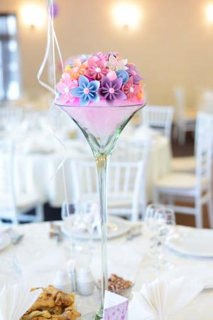 Decor masă - Semisferă flori hârtie1
