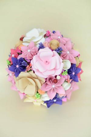 Decor masă - Semisferă flori hârtie4