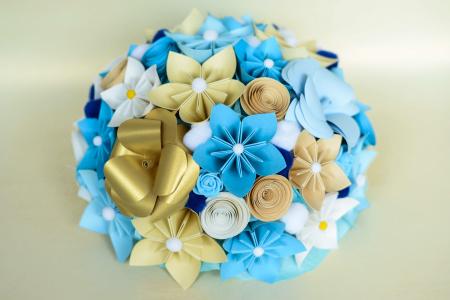 Decor masă - Semisferă flori hârtie8