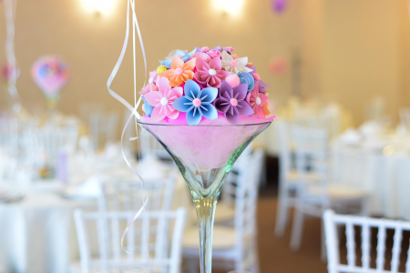 Decor masă - Semisferă flori hârtie0
