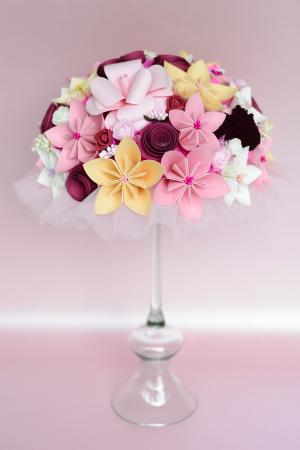 Decor masă - Semisferă flori hârtie13