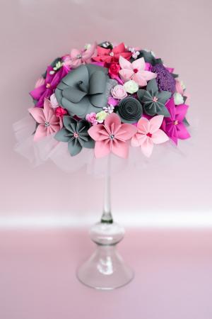 Decor masă - Semisferă flori hârtie/flori uscate [11]