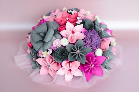 Decor masă - Semisferă flori hârtie/flori uscate [12]