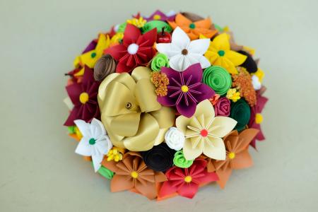 Decor masă - Semisferă flori hârtie/flori uscate [1]