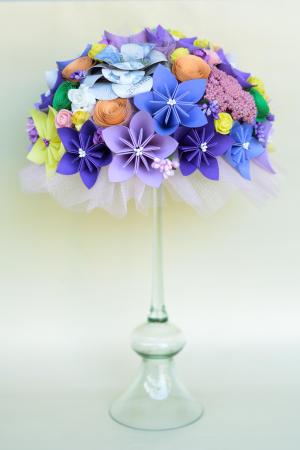 Decor masă - Semisferă flori hârtie/flori uscate [4]