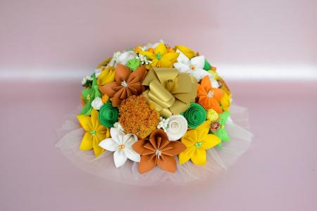 Decor masă - Semisferă flori hârtie/flori uscate [7]
