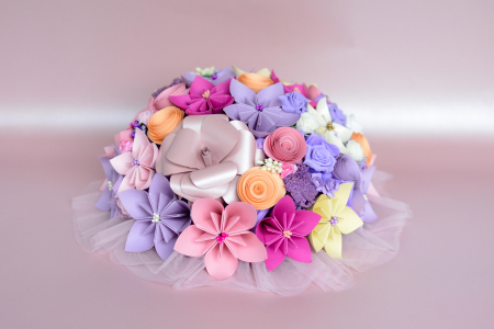 Decor masă - Semisferă flori hârtie/flori uscate [14]