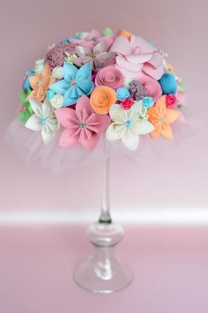 Decor masă - Semisferă flori hârtie/flori uscate [21]
