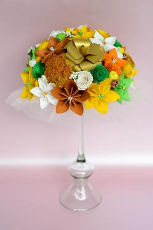 Decor masă - Semisferă flori hârtie/flori uscate [8]