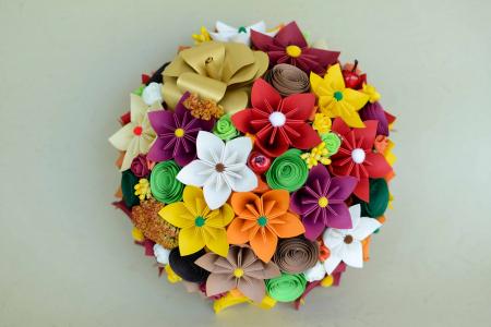 Decor masă - Semisferă flori hârtie/flori uscate [2]