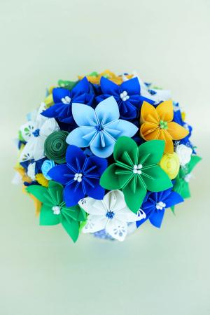 Decorațiune - Ghiveci flori hârtie [1]