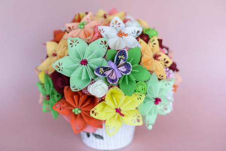 Decorațiune - Ghiveci flori hârtie3