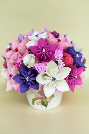 Decorațiune - Ghiveci flori hârtie0