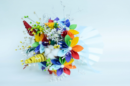 Decorațiune Vază - flori hârtie2