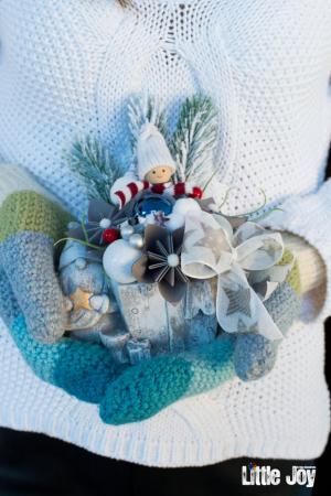 Decorațiune ghiveci ceramic Crăciun2