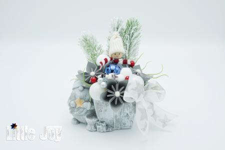Decorațiune ghiveci ceramic Crăciun3