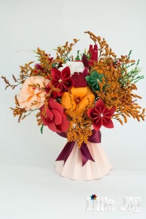 Decorațiune Vază - flori hârtie - Portocaliu0