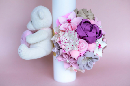 Lumânare botez flori - Ursuleț2