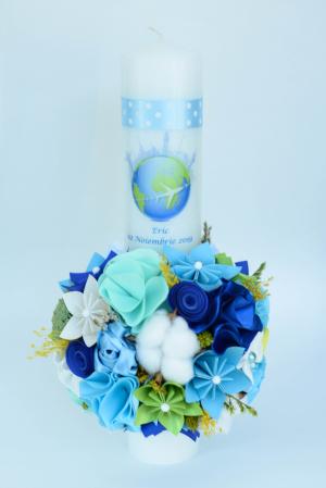 Lumânare botez Glob personalizată - Fundiță [0]