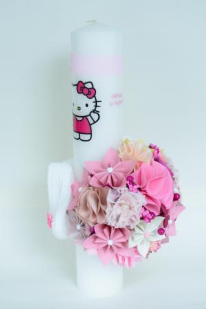 Lumânare botez Hello Kitty personalizată - Botoșei2