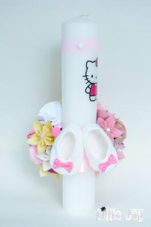 Lumânare botez Hello Kitty personalizată - Botoșei4