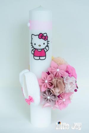 Lumânare botez Hello Kitty personalizată - Botoșei3