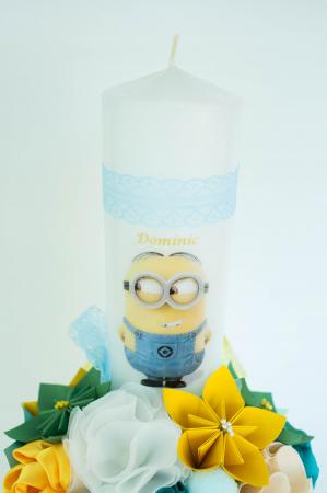 Lumânare botez Minion personalizată - Fundiță1