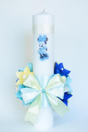 Lumânare botez personaj bleu, personalizată - Fundiță2