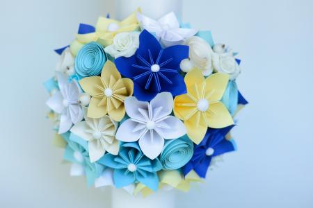 Lumânare botez personaj bleu, personalizată - Fundiță1