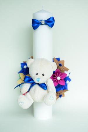 Lumânare botez personalizată - Ursuleț pluș2