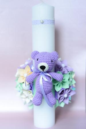 Lumânare botez personalizată - Ursuleț croșetat2