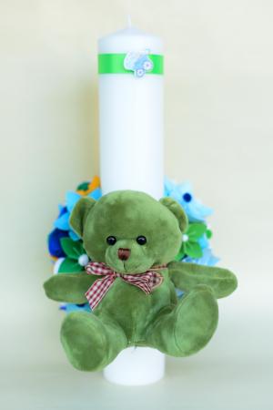 Lumânare botez personalizată - Ursuleț pluș3