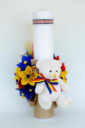 Lumânare botez personalizată - Ursuleț pluș1