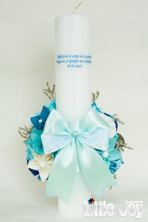 Lumânare botez BabyBoss, personalizată - Fundiță3