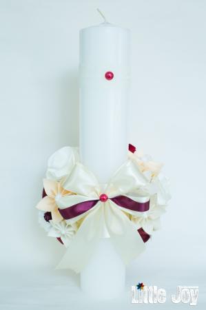 Lumânare botez personalizată - Fundiță - Maia2