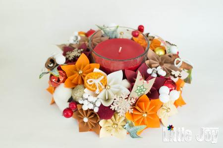 Lumânare Crăciun - Parfumată - Portocaliu0