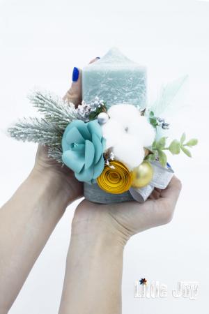 Lumânare flori hârtie Crăciun0